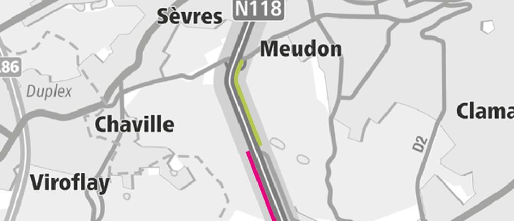 Travaux de création de la nouvelle voie dédiée aux bus sur la RN118 dans le sens province > Paris